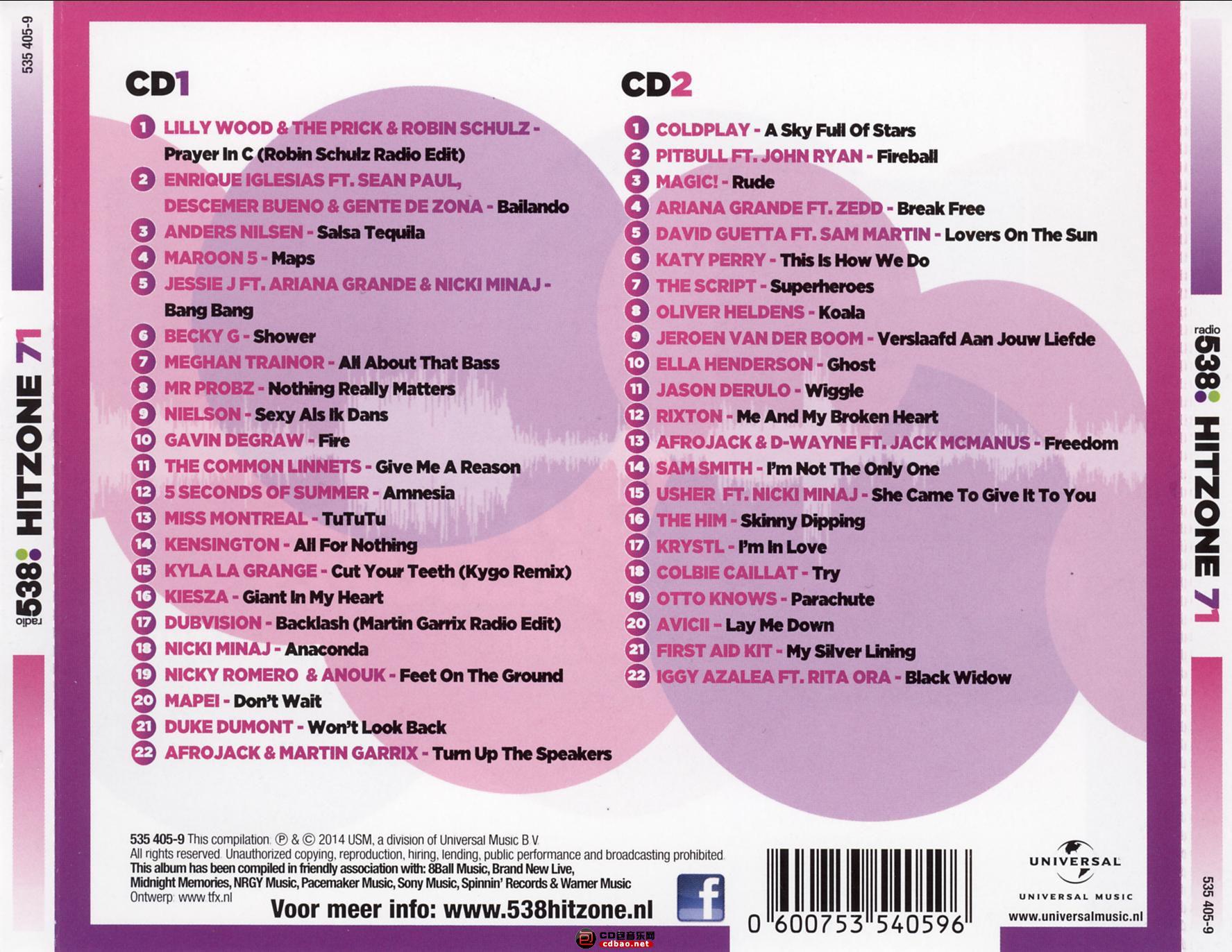 Radio 538 Hitzone 71 (2014)_cd-back.jpg